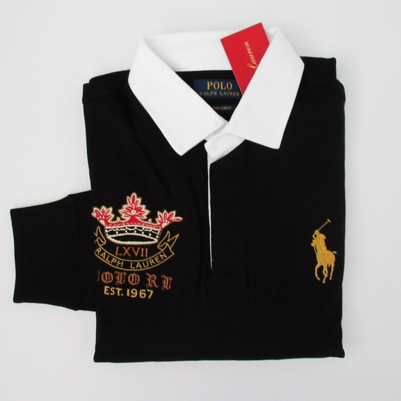 86729c069b Ralph Lauren Lunar Year Big Gold Pony Rugby Shirt NWT